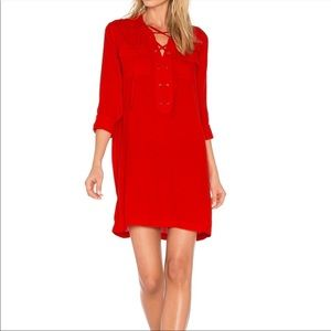 1. State Red Lace Up Shirt Dress